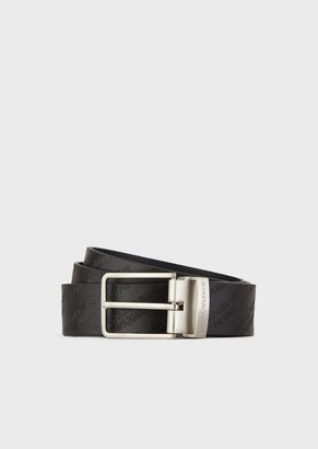 Emporio Armani Leather Belt With All Over Logo