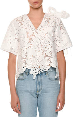 MSGM Scalloped Lace Bow-Shoulder Top