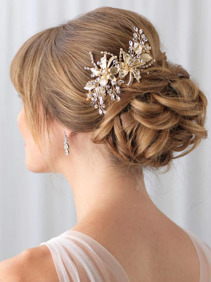 Etsy Gold Bridal Hair Clip, Gold Wedding Hair Clip, Floral Hair Clip, Bridal Hair Comb, Gold Headpiece, G