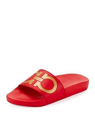Salvatore Ferragamo Groove Gancini Flat Slide Sandal, Pamplona/Oro $195 thestylecure.com