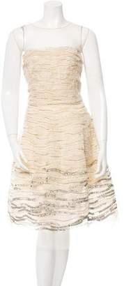 Oscar de la Renta Embellished Silk Cocktail Dress