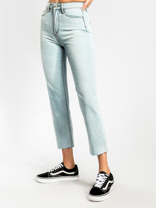 Articles of Society Jaynee High-Rise Straight Leg Jeans in Authentic 90s Wash Denim