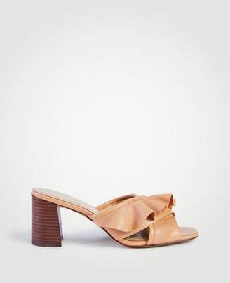 Ann Taylor Evena Leather Ruffle Block Heel Sandals