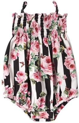 Dolce & Gabbana Stripes & Roses Cotton Poplin Bodysuit