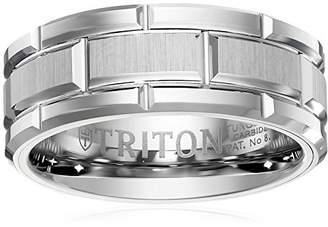 Triton Men's Tungsten 8mm Brick Pattern Wedding Band