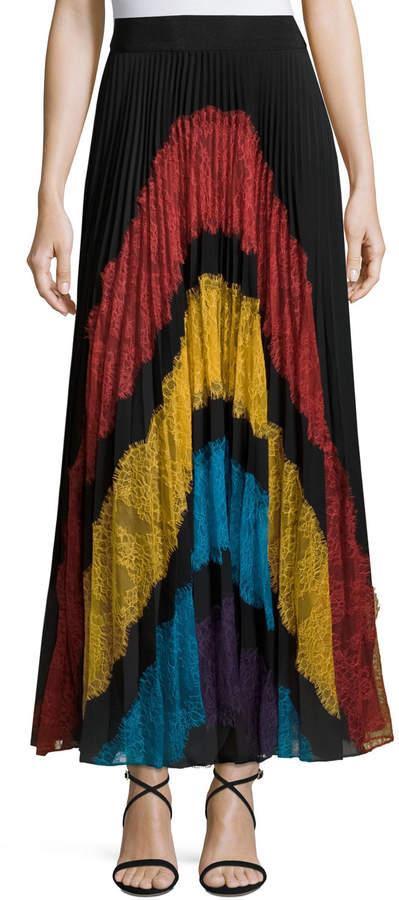 Alice + Olivia Romona Lace-Panel Plisse Maxi Skirt, Multicolor