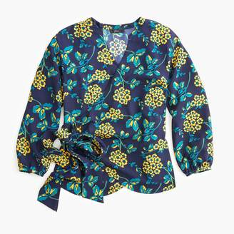 J.Crew Tall drapey crepe wrap top in floral
