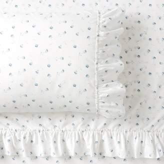 Pottery Barn Teen Lily Ashwell Organic Ditsy Floral Ruffle Sheet Set, Twin/Twin XL, Ivory/Ash Blue