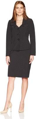 Le Suit LeSuit Women's Printed Dot Twill 3 Button Skirt Suit