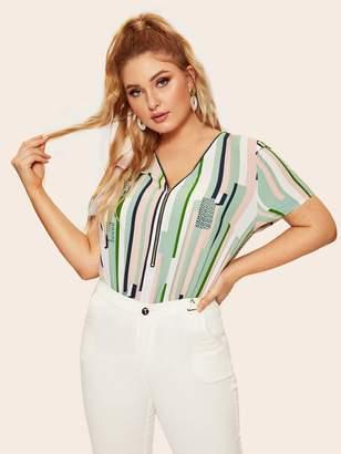 Shein Plus Half Zip Front Striped & Geo Print Blouse