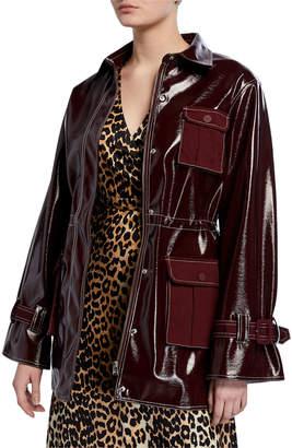 Ganni Shiny Patent Snap-Front Jacket