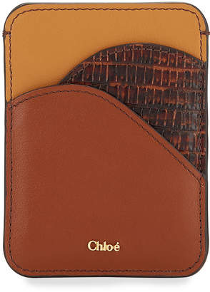 Chloé Walden Smooth and Lizard-Embossed Card Holder