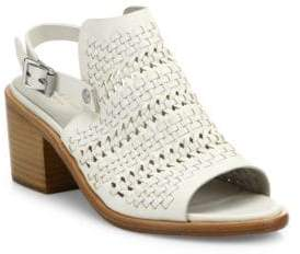 Rag & Bone Wyatt Woven Leather Mid-Heel Slingbacks