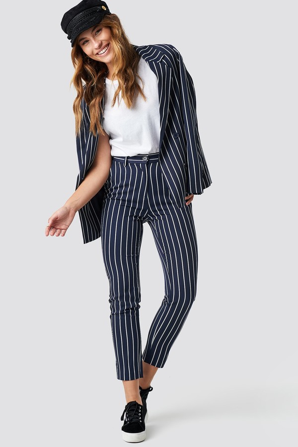 Navy Striped Suit Pants