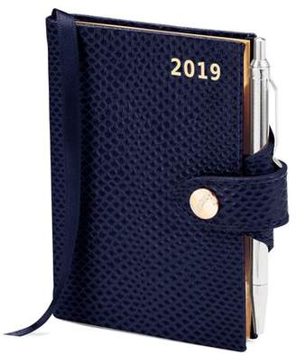 Aspinal of London Mini Pocket Leather Diary With Pen In Midnight Blue Lizard