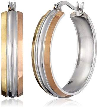 Stainless Steel Tri Color Hoop Earrings