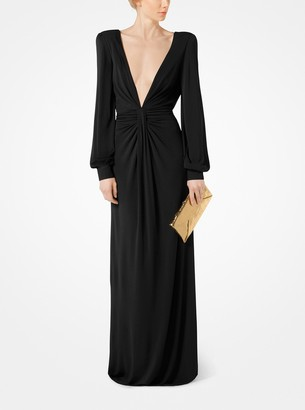 Michael Kors Crepe-Jersey Draped Plunge Gown