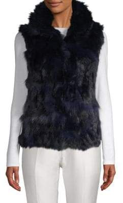 Adrienne Landau Dyed Fox and Rabbit Fur Vest