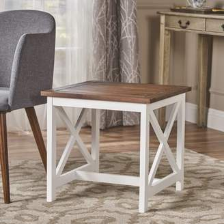 Noble House Indoor Farmhouse Cottage Acacia Wood End Table with Frame,Dark Oak,White