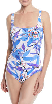 Gottex Sakura Square-Neck Ribbed Floral-Print One-Piece Swimsuit