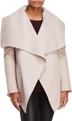 BCBGMAXAZRIA Pink Open Front Wool Coat