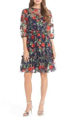 129e32d6912e 1901 Embroidered Mesh Fit   Flare Dress (Regular   Petite)