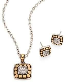 John Hardy Dot Diamond, 18K Yellow Gold & Sterling Silver Pendant Necklace & Stud Earring Gift Set