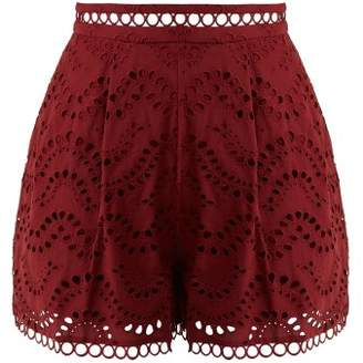 Zimmermann Jaya Wave Cotton Shorts - Womens - Burgundy