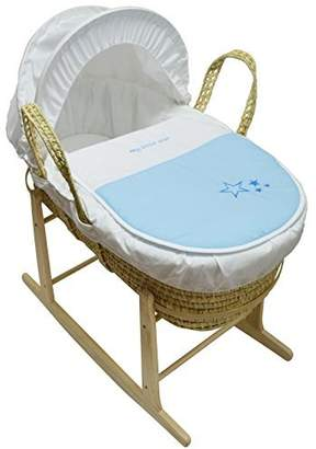 For Your Little One Beautiful Baby Moses Basket with Natural Rocking Stand Blue My Little Star Palm