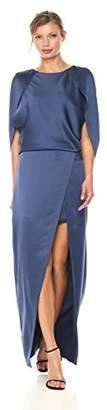 Halston Women's Cape Sleeve Round Neck Satin Gown, 8