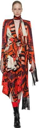 Alexander McQueen Tiger Wing Butterfly Printed Silk Dress