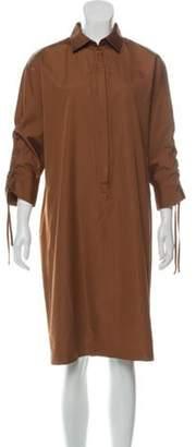 Max Mara Short Sleeve Knee-Length Dress Brown Short Sleeve Knee-Length Dress