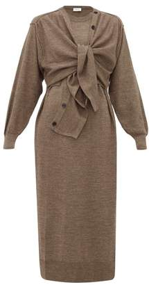 Lemaire Layered Wool Blend Cardigan Dress - Womens - Brown