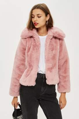 Topshop Womens Petite Faux Fur Coat - Rose