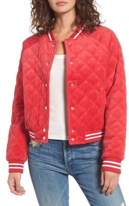Juicy Couture Quilted Velour Bomber Jacket
