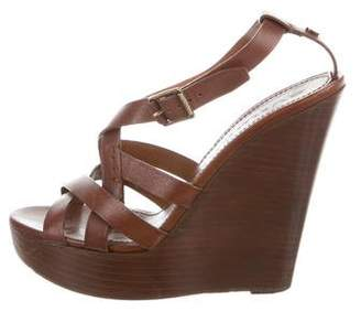 Burberry Leather Ankle Strap Wedges