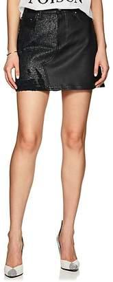 Amiri Women's Leather & Denim Miniskirt