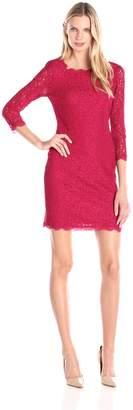 Adrianna Papell Women's 3/4 Sleeve Lace Dress, Navy/Gunmetal