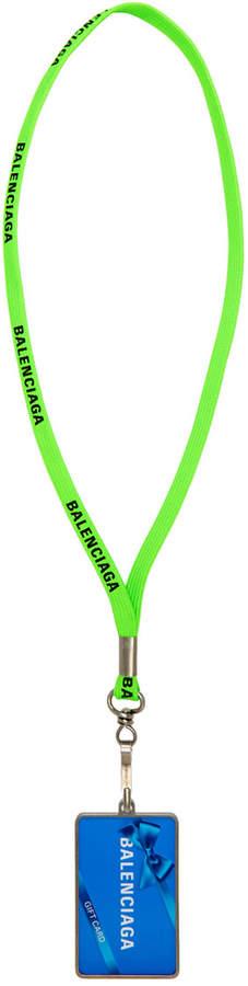 Balenciaga Green 'Gift Card' Badge Necklace