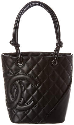 Chanel Black Quilted Calfskin Leather Mini Cambon Tote