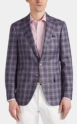Isaia Men's Plaid Wool-Blend Two-Button Sportcoat - Purple