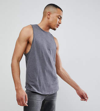 Asos DESIGN Tall relaxed tank with binding and curve hem in gray