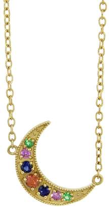 Andrea Fohrman Mini Emerald and Multi-Sapphire Crescent Moon Necklace - Yellow Gold