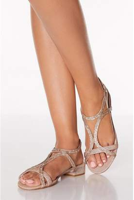 Quiz Rose Gold Diamante Strappy Low Heeled Sandals