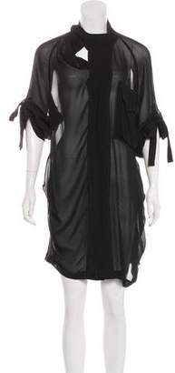 AllSaints Sheer Silk Shirt Dress