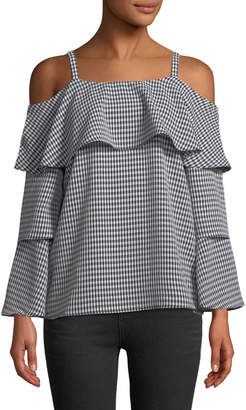 P. Luca Gingham Tiered-Sleeve Blouse