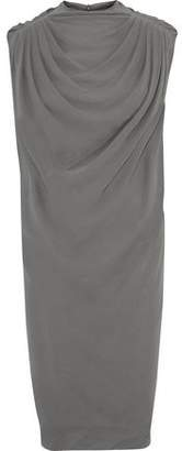 Rick Owens Claudette Gahered Silk-Crepe Dress