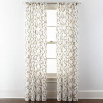 Royal Velvet Lillian Embroidered Sheer Rod-Pocket Curtain Panel