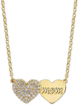 "Kate Spade Gold-Tone Pavé Heart Mom Pendant Necklace, 17"" + 3"" extender"
