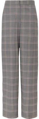 Cédric Charlier Checked Wool-blend Wide-leg Pants